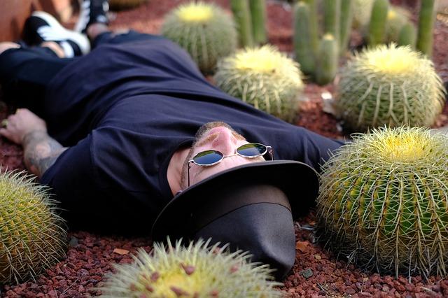Muž v klobúku a slnečných okuliaroch leží medzi kaktusmi.jpg